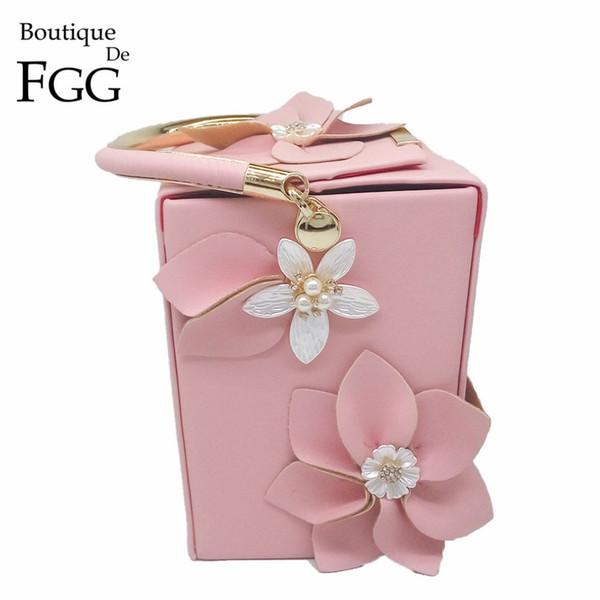 Boutique De Fgg Unique Design Gift Box Shape Women Flower Clutch Evening Tote Bag Floral Beaded Wedding Handbag Purse Ladies Bag J190513