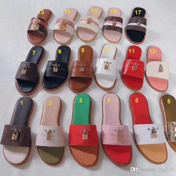 Kadın moda yaz kilit ayakkabı terlik Graffiti Sandalet Kadınlar hakiki dana deri Ayakkabı ile logo kutusu Düz terlik Büyük boy 35-42 41