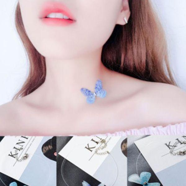 3D Sonho Romântico Invisível Fita De Peixe Borboleta De Cristal Gems Colar Moda Para As Mulheres Jóias # 272917
