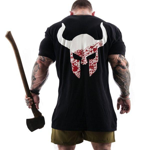 T-shirt de algodão Mens Run Jogging Sports Especialidade Ginásio de Fitness de Manga Curta Fino T Camisa Treino de Treinamento Masculino Tees Tops Roupas Da Moda