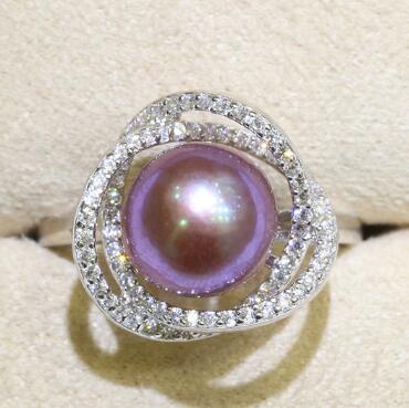 Incrusté 925 Anneaux Couleur Naturelle Perle D'eau Douce 9-10mm Edison Perle Anneau Demi-baroque Bijoux De Mode