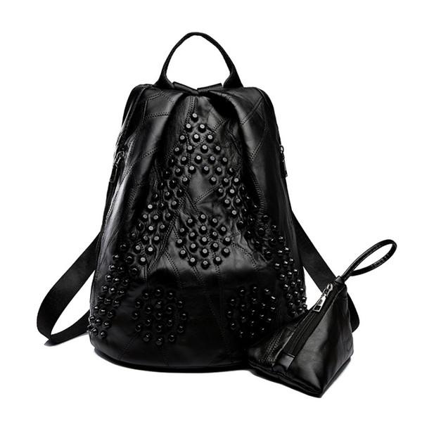 Fashion Women Mini Pu Leather Backpack Rivet Design Women's Backpacks Casual Ladies Bags Female Leather Black/red Bag