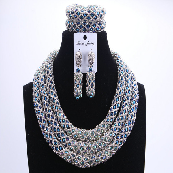 Silver Blue Dudo African Beads Jewelry Sets 2017 Bridal Jewelry Sets & More Nigerian Wedding Beads African Necklace For Women C18122701