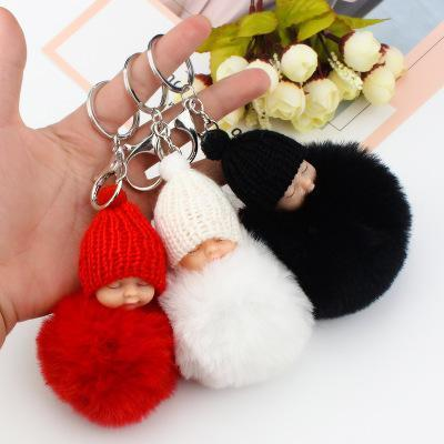 ht Sweet Fluffy Pompom Sleeping Baby Key Chain Faux Rabbit Fur Pom pon Knitted Hat Baby Doll Keychain Car Keyring Toy Trendy Gifts