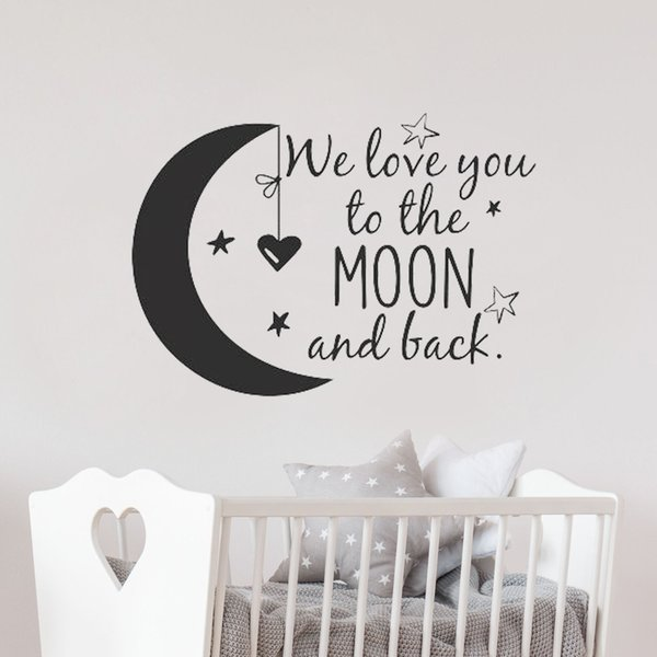 We Love You To The Moon And Back Wall Decal Nursery Quotes Moon and Stars  Wall Sticker Children Room Decor Ideas Kids Rooms