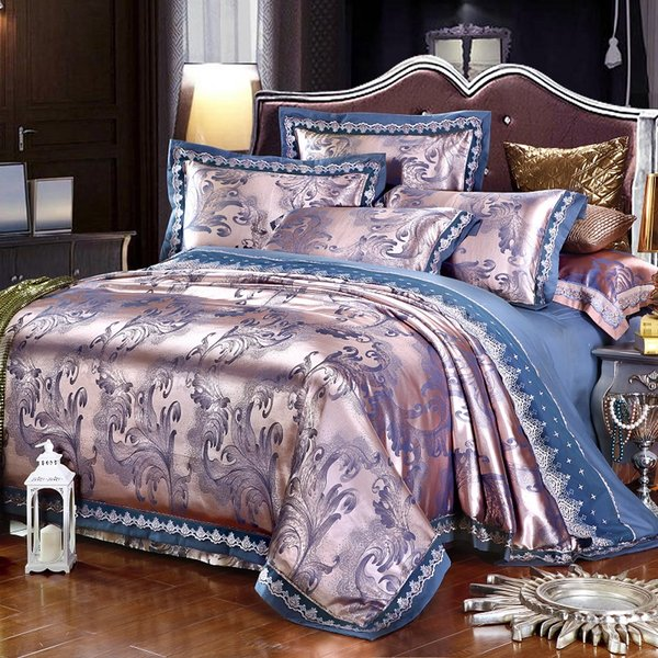 4/6Pcs Silver Gold Blue Luxury Satin Jacquard Bedding set/Bedclothes Queen King size Lace Duvet cover Bed sheet set pillowcase36