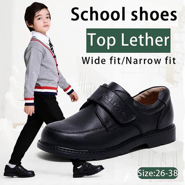Kalupao Bambini bambini ragazzi Scarpe in vera pelle Scarpe nero autunno Ragazzi Uniforme scolastica Dress Oxfords casual Wide Fit