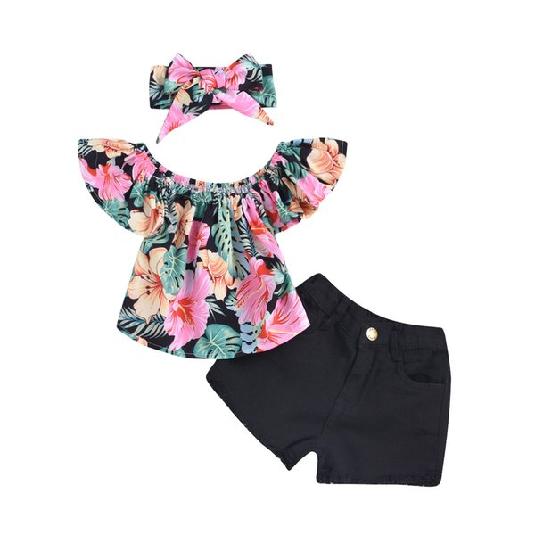 Retail girls boutique outfits summer 3pcs short set flying sleeves floral tops +black fringed jeans+headband baby tracksuit designer clothes