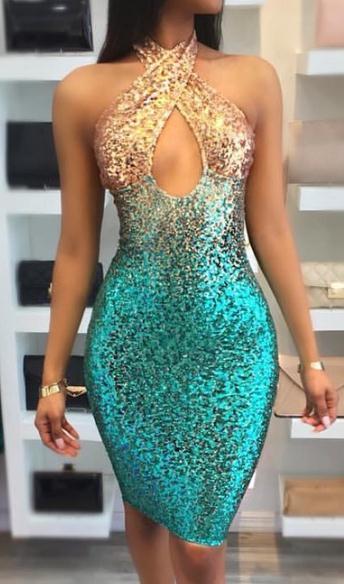 Bayanlar Pullu Kısa Akşam Balo Elbise Çapraz Ön Halter Kokteyl Parti Elbiseleri Yeni Pullu Yaz Elbiseler