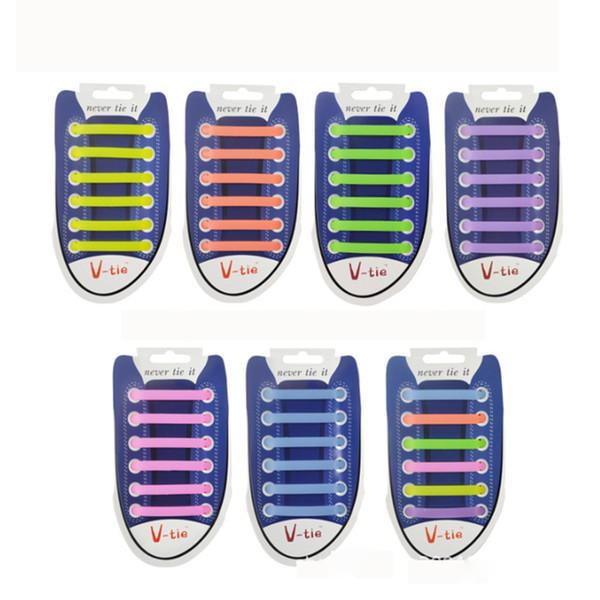 12pcs/lot Elastic Silicone Shoelaces Special Shoelace No Tie Shoe Laces Men Women All Sneakers Lacing Rubber Shoelace