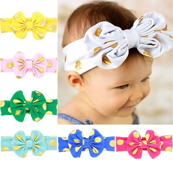 24 Pcs Baby Gold Dot Knot Elastic Hair Bands Headbands Toddler Kids Headwear Hair Accessories Beautiful HuiLin DWH51