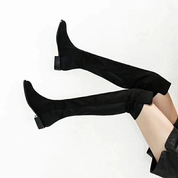 5050 bottes aux genoux hiver femme minces bottes rondes élastiques couture bottes ALLJACK en cuir de tissu élastique
