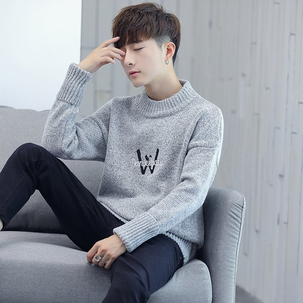 2019 Spring New Men's semi-turtleneck sweater thickened loose sleeve knitted shirt men's Wear