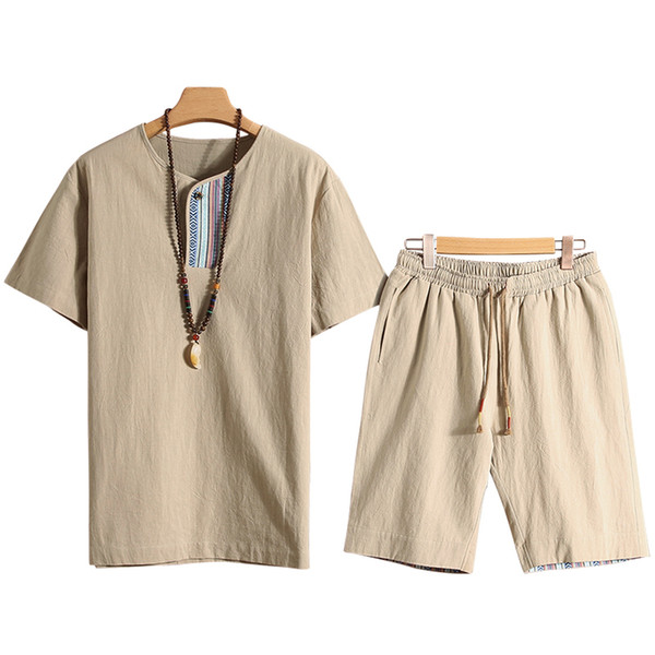 2PCS Estate T-Shirt in cotone Set da uomo 2018 nuovi arrivi in stile cinese coreano moda stampa abbigliamento casual Tuta uomo