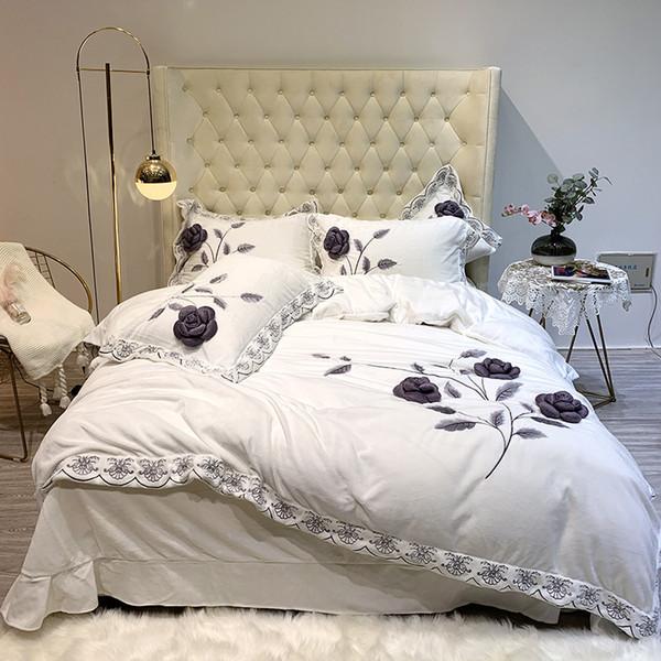 Blanc Violet Gris Bleu Marron Hiver Polaire Tissu Fleurs Ensemble De Literie De Broderie Flanelle Velvet Housse De Couette Drap de lit Taie D'oreiller