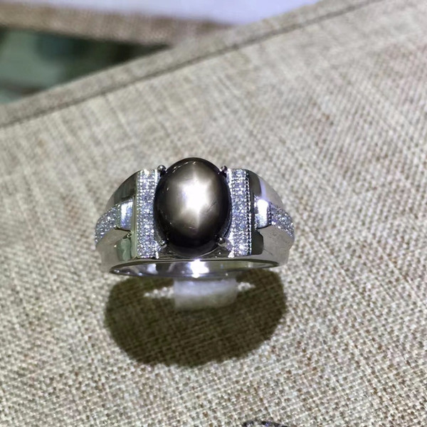 KJJEAXCMY fine jewelry 925 sterling silver with natural star sapphire gold ring with small and shaped flowers C18122801