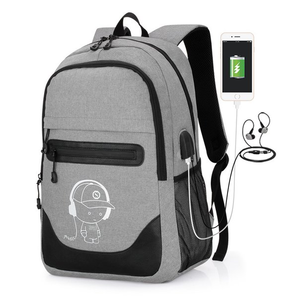 Business Travel Teenage Anti-theft School Bag 15.6inch Backpack Men Fashion Anime Luminous Usb Charging Laptop Computer Backpack