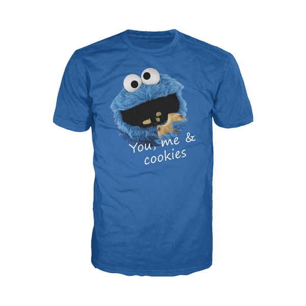 Sesame Street Cookie Monster, You & Me Official Men's & Ladies' T-shirt (Blue) Men Women Unisex Fashion tshirt Free Shipping