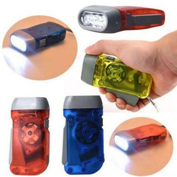 3 LED Hand Pressing Dynamo Crank Power Wind Up Flashlight Torch Light Hand Press Crank Camping Lamp Light MMA2199-2