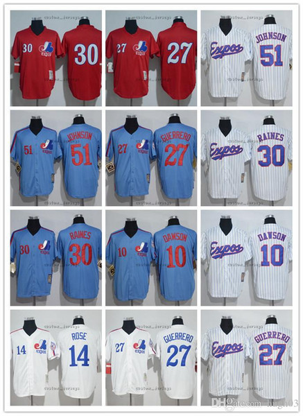 Men's Montreal Jersey Expos # 27 Vladimir Guerrero 14 Pete Rose 30 Tim Raines 45 pedro martinez 51 Randy Johnson 10 Dawson Baseball Jers