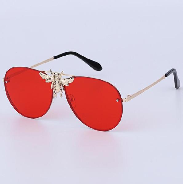 Lenti sfumate di alta qualità Struttura in metallo Occhiali da sole Big Bee UV400 Occhiali da sole per uomo Retro Moda Occhiali parasole per esterni Occhiali da vista