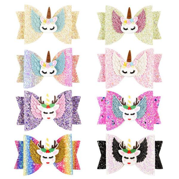 INS Bebek Unicorn Firkete Moda Kız Sequins Glitter Saç Klipler Sevimli Elk Gökkuşağı Tokalarım Çocuk Yay Saç Aksesuarları TTA926