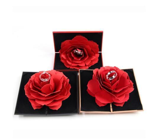 Anello Fiore 3D Pop Up Red Rose Box aggancio di cerimonia nuziale Jewelry Box di immagazzinaggio del supporto della cassa GB915