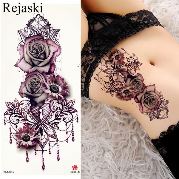 Revistas De Tatuagens Roxo Subiu Jóias Transferência De água Tatuagem Adesivos Mulheres Corpo Peito Arte Tatuagem Temporária Menina Cintura Pulseira