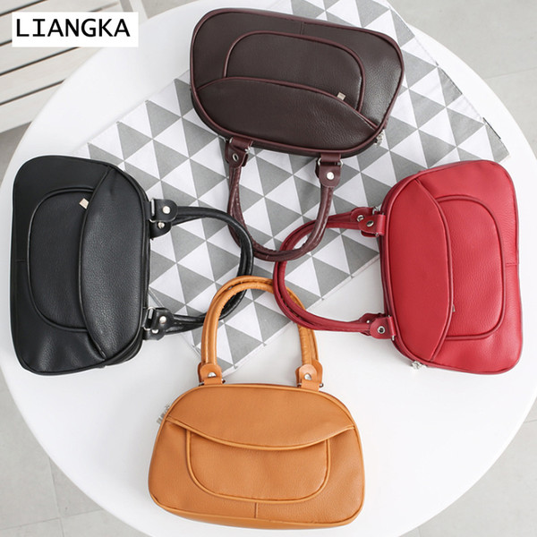 LIANGKA Women Small Solid PU Leather Handbag Female Zipper 3-Layer Clutch Bag Mommy Phone Case Lady Wrist bag Purse