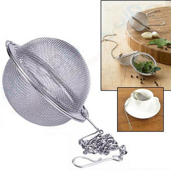 Edelstahl Teekanne Infuser Sphere Mesh Teesieb Füllstoff 5cm Kette Ball Sieb Ball