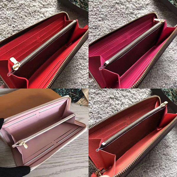 2019 original leather cla ic de igner wallet fa hion leather long pur e money bag zipper pouch coin pocket note de igner clutch, Red;black