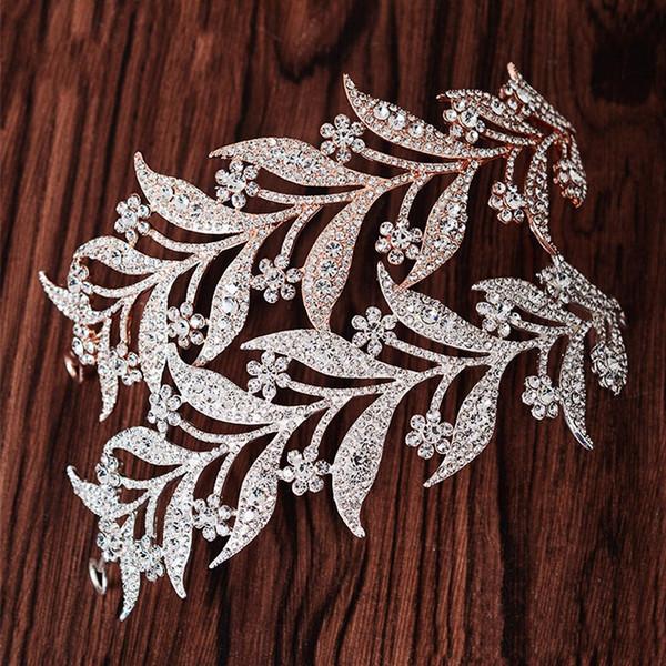 Luxury Silver Crystal Leaf Vine Bridal Tiaras Wedding Headband Hair Accessories Rhinestone Pageant Prom Crown Bride Head Jewelry