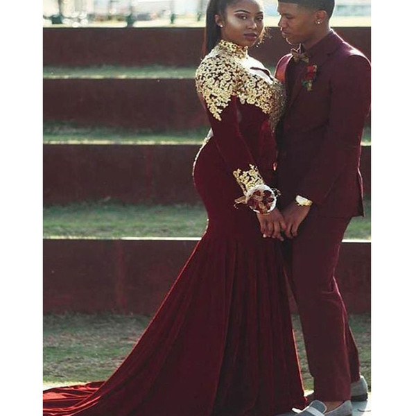 arabic prom dresses 2019 high neck long sleeve lace appliues mermaid fit and flare evening dresses gowns velvet party dresses