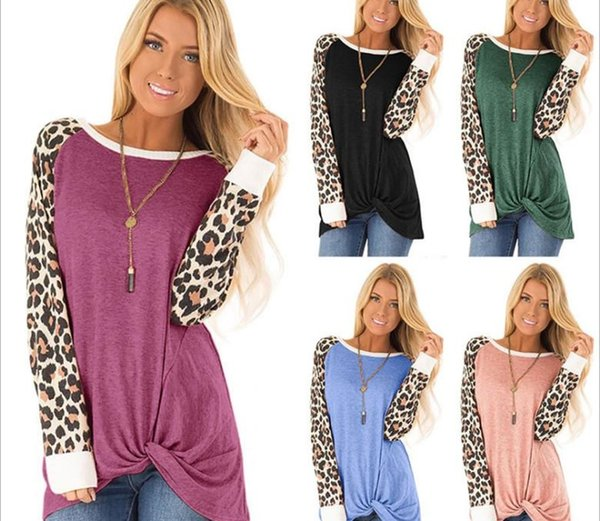 2019 Autumn New European and American Womens Clothing Leopard Print Twisted Long Sleeved t shirt Round Neck Loose Top