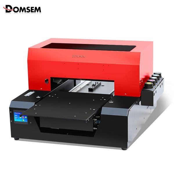 DOMSEM Téléphone Imprimante UV à plat 6 couleurs Imprimante Numérique Pour T-shirt Multifonction En Verre En Bois A3 Taille Machine D'impression