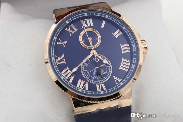 Superior de lujo caliente del reloj del vendedor caliente venta automática del reloj con esfera azul Caja Oro Suisse de la goma de 45 mm de cristal del reloj mecánico