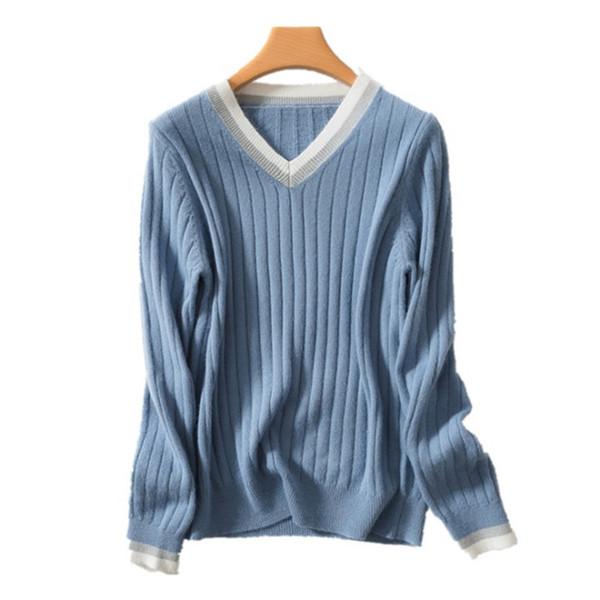 Осень и зима новый 2019 Корейский V-образный вырез свитер женский кашемировый свитер свободный вязать дно рубашки