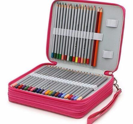 2019 124 Holder 4 Portable PU Leather School Pencils Case Large Capacity Bag For Colored Pencils Watercolor Art Supplies