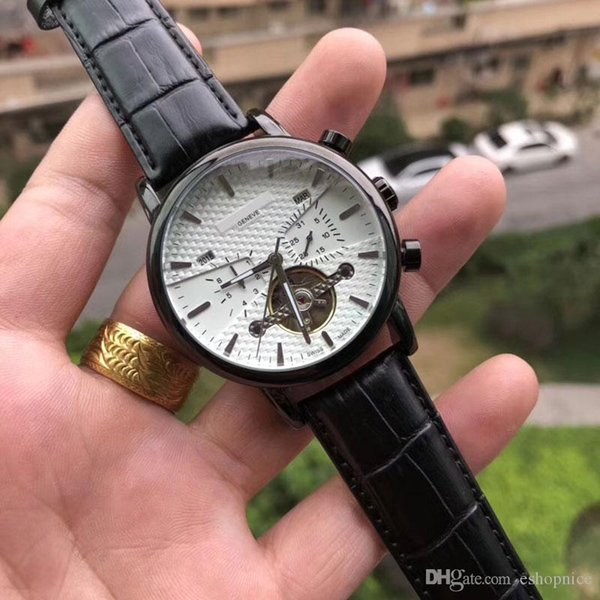 luxury mens watches brand 41mm flywheel dial mechanical automatic genuine leather fashion wristwatch for men male waterproof relogios