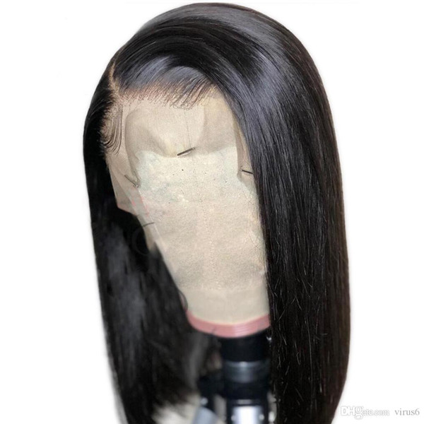 Bob Human Wig Lace Front Virgin Peruvian Straight Remy Hair Glueless Short Bob Lacefront Human Hair Wigs For Black Women
