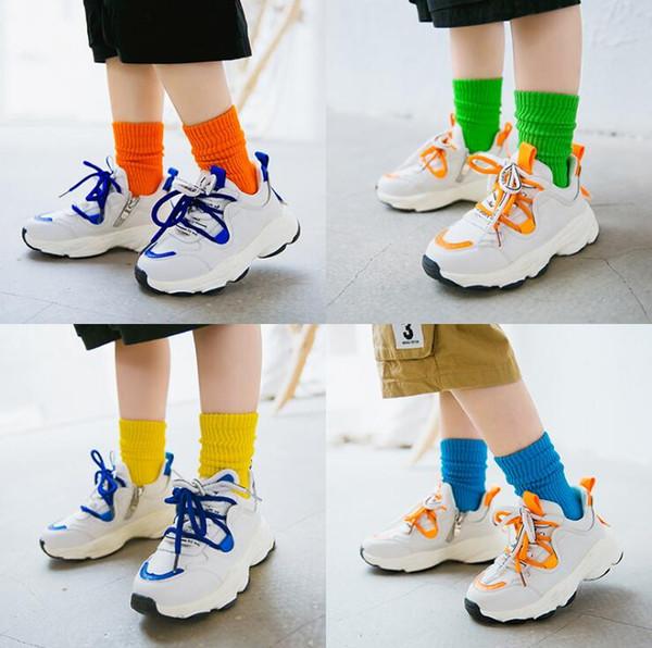 Kids Knee High Socks Toddler Baby Boys Girls Long Socks Autumn Winter Cotton Solid Color High Korea Sock Top Quality 3 Sizes