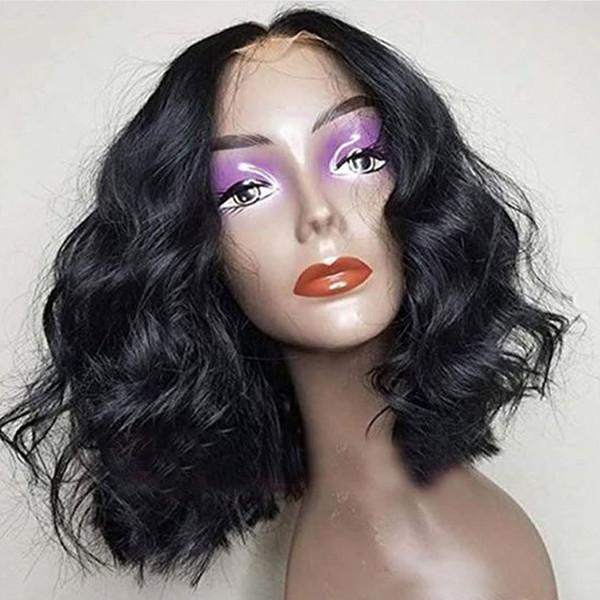 13x6 profonda Parte Pre pizzico parte anteriore del pizzo dei capelli umani Bob parrucche con capelli del bambino onda allentata Virgin malese brevi parrucche per le donne nere