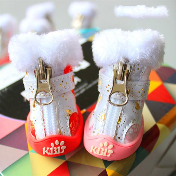 Calda qualità cane stivali rosso giallo rosa inverno cerniera scarpe da compagnia con pelliccia per animale cucciolo Yorkshire chihuahua bassotto merci