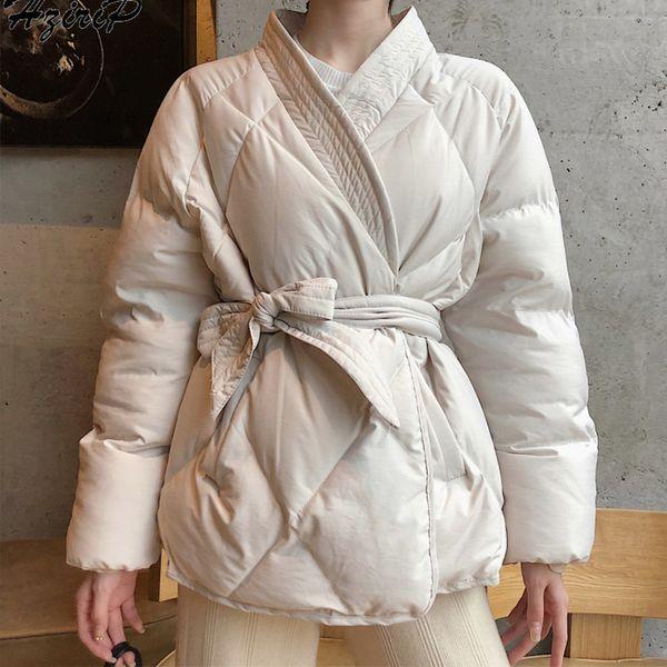 Kimono Kadın Parka Sashes Kış 2019 Kalın Sıcak Pamuk yastıklı Kadın Parkas Yüksek Kaliteli Casual Katı Öğrenci Kız Coats DT191028