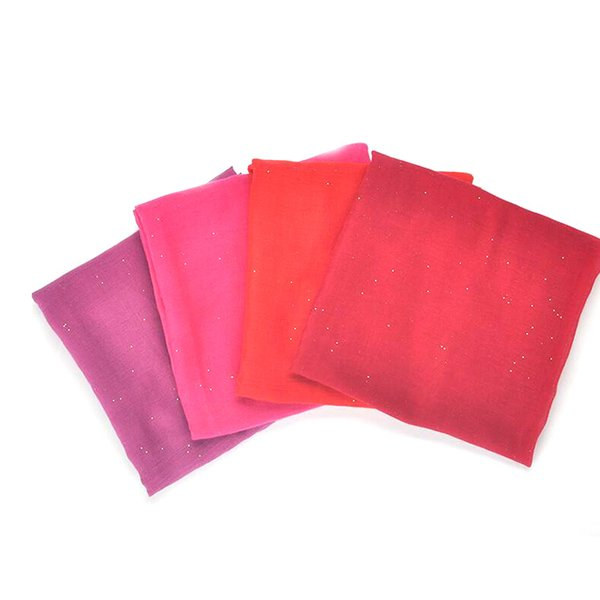2019 Scarf factory wholesale plain pure color shining hair scarf hijab glitter women muslim voile scarf