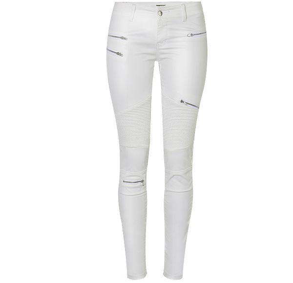 2019 Women Leather Pants & Capris PU Elastic High Waist Trousers Stretchy Slim multi-zipper Pencil Pants Leggings Female white large size