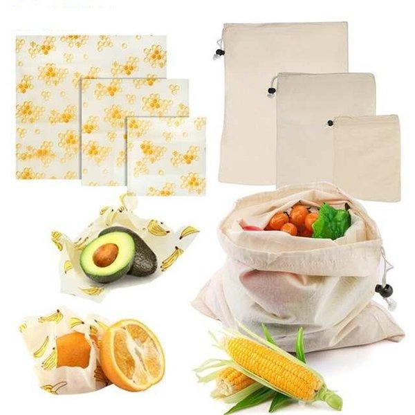 3pcs riutilizzabile della cera d'api panno alimentari Wrap Fresh Keeping coperchio sacchetto della copertura del tratto della cera d'api Wrap Food Storage Eco Friendly Frutta Savers