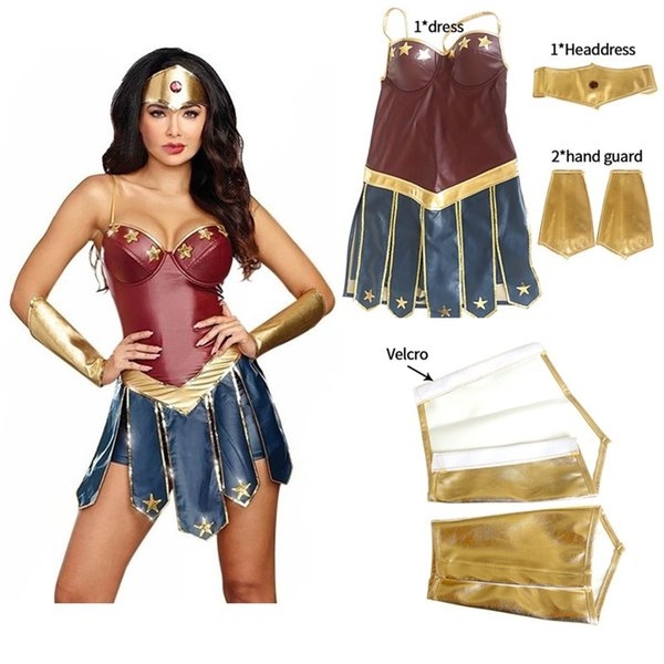 Superhéroe Mujer Maravilla Cosplay Traje de la Liga de la Justicia de Adultos Traje de Navidad de Halloween Sexy Vestido de Las Mujeres Vestido de Cosplay