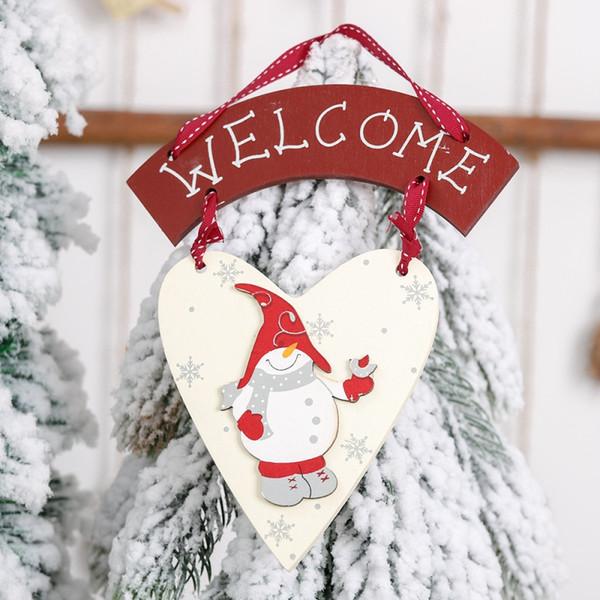 Pendurado Em Madeira de natal Sinal de Boas-vindas Decoração de Loja em Casa Forma de Coração Pingente Árvore de Natal Casa Decoração da Janela da Porta de Parede de Natal