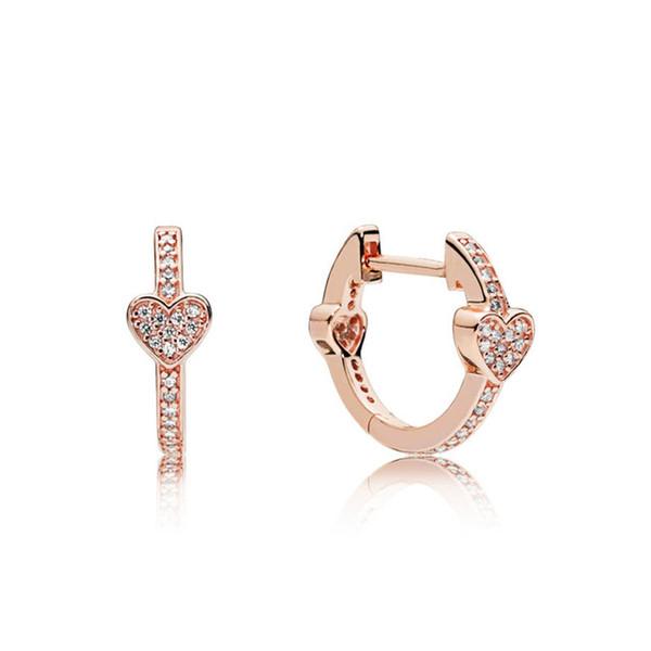 Kristie 100% 925 Sterling Silver Brand New Temperament Chic 287290CZ ROSE ALLURING HEARTS EARRINGS Original Jewelry Women Holida